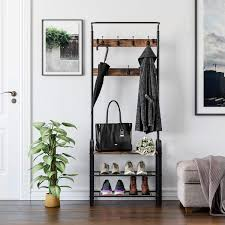 Homfa Garderobenständer Mit Schuhablage Und Sitzbank 11 Haken Aus Metall Holz Vintage Schwarz 184x72x335cmhxbxt