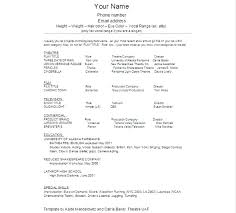 Acting Cv Template Audition Resume Templates Practical Plus