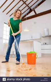 Mop Kitchen Floor Woman Mopping Her Kitchen Floor Stock Photo Royalty Free Image