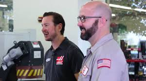 Kurt Busch Stops by Haas and Meets Tip-of-the-Day Mark - YouTube