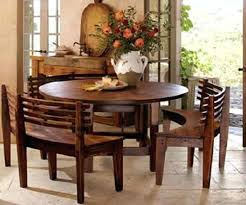 round dining room table sets with benches and chairs s wooden curves