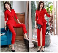 2019 Women Red Blazer Slim <b>Spring Autumn</b> New Elegant <b>Office</b> ...