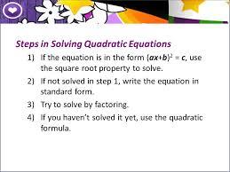5 steps in solving quadratic equations