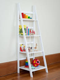 Enjoyable White Wooden Ladder Shelf As Toys Storage Added White Wall  Painted Also Wood Floors In Kids Room Decors Ideas