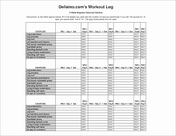 Workout Spreadsheet Daily Log Template Excel Sample Workout Log Template 8 Download In