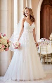 a line wedding dress with v neckline stella york