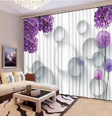 Purple Curtains For Living Room Online Shop Purple Flower 3d Window Curtains For Bedding Room