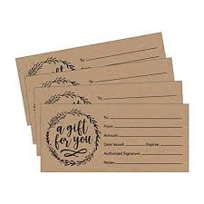 25 4x9 rustic blank gift certificate cards vouchers for holiday birthday holder