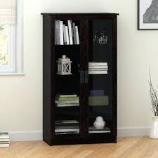glass door bookcase point traditional 4 shelf glass door bookcase espresso bookcases best ikea hemnes