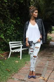 ripped jeans and leather jacket