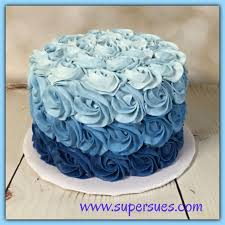 Blue Birthday Cake Designs Ombre Blue Buttercream Rose Smash Cake Birthday Cakes For