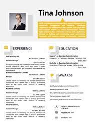 Yellow Grey Two Column Professional Resume Word Resume Templates