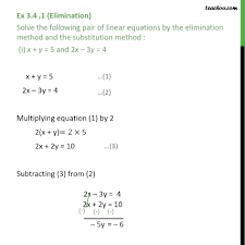 linear system elimination math ex 1 solve by elimination and substitution elimination mathematics definition