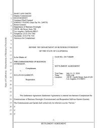 Fillable Online California Department of Business Oversight-Settlement  Agreement. Sullivan Garrett Fax Email Print - PDFfiller