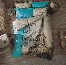 100 turkish cotton 3 pieces paris in love bedding linens duvet cover sheet set