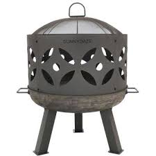 26 in x 29 in round cast iron retro outdoor wood fire pit bowl