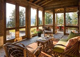 Log Cabin Outdoor Furniture Patio Rustic Sunroom That Flows Into The Deck Acts As A Bridge Between Interior And Outdoors Timeless Allure 30 Cozy Creative Sunrooms Log Cabin Outdoor Furniture Patio E