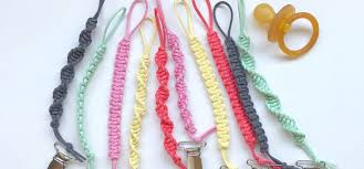 macrame braided pacifier clip range