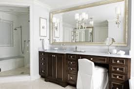 silver framed mirror with standard vanity height for classic bathroom ideas using vintage white wall color