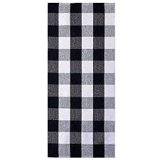 buffalo check plaid runner rug black and white area for kitchen target 2 6 black and white buffalo check accent rug