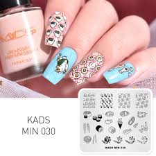 Diy Manicure Designs Us 1 95 61 Off Kads Min 030 Nail Stamping Plates Food Designs Nail Art Stamp Template Image Plate Diy Manicure Beauty Accessories Printer In Nail