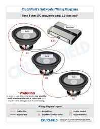 subwoofer wiring diagrams three subwoofers 3 svc 2 ohm mono · 3 svc 4 ohm mono low imp