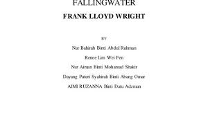Strikingly Design Frank Lloyd Wright Philosophy Interor History Culture 2  Project 1 Falling Water By FALLINGWATER FRANK LLOYD WRIGHT BY Nur Bahirah  Binti