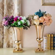 large diamete tabletop metal vase Decorative Flowers tall vases for wedding  metal flower vases silver wedding