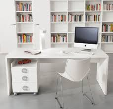 Furniture:Minimalistic Computer Desk With Futuristic Shape In Slim Shape  Slim White Glossy Wooden Finishing