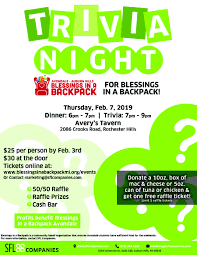 Avondale Trivia Night Flyer Blessing In A Backpack Mi