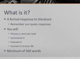 response to literature essay what is it  a formal response to  response to literature essay 2 what