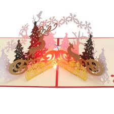 Christmas Cards With Lights And Music 1pc 3d Music Paper Carving Lights Pop Up Postcard Birthday Christmas New Year Folding Kirigami Card For Wedding Greeting Cards