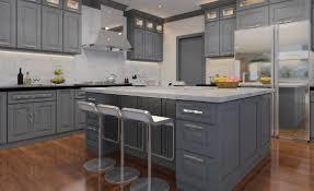 Gray Shaker Kitchen Four Less Cabinets Medium