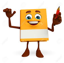 cartoon character of book with pen stock photo 32428630
