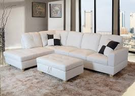 amazon lifestyle faux leather right facing sectional sofa set with storage ottoman 2 square pillows white 3 piece kitchen dining