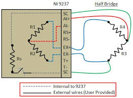 connecting strain gauges and shunt resistors to the ni 9237 figure 3 connection diagram for a half bridge strain gauge and the ni 9237