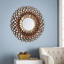 red barrel studio decorative round wall mirror reviews wayfair regarding barrel frame round decorative