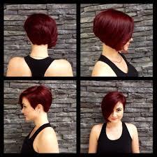 Asymmetrical Frankie Sandford Haircut Red Violet
