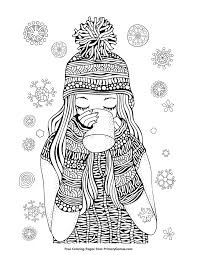 Winter Coloring Pages Ebook Girl Drinking Hot Chocolate Coloring