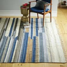 striped dhurrie rugs mixed stripe wool west elm bold blue blend