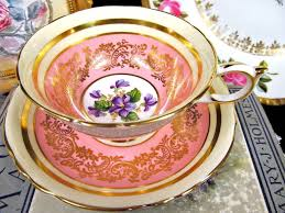 Decorative Cups And Saucers Paragon tea cup and saucer PINK VIOLETS teacup pattern wide 60