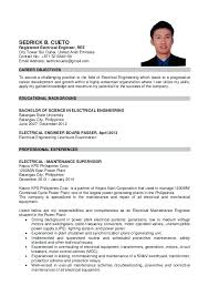 Sample Resume Philippines Resume For Electrical Engineer In Sample