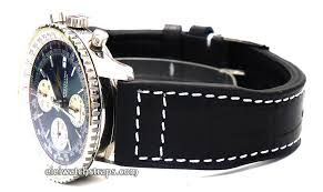 aviator 22mm black alligator watch deployment clasp for breitling navitimer