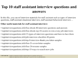 cover letter for staff assistant top 10 staff assistant interview questions and answers