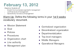 February 13 2012 Mission Statement Goal Policies Procedures