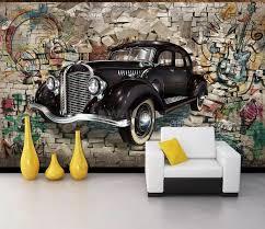 retro classic car with graffiti