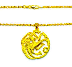 18k gold dragon pendant and 30 snake wave chain link necklace gift pkg d562h