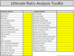 Pricing Model Excel Template Ratio Analysis In Excel Download Ratio Analysis Excel Template