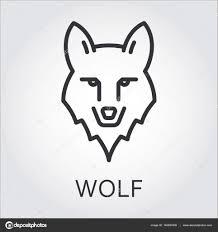 černá Ikona Styl Perokresby Hlava Volně žijících Zvířat Vlk