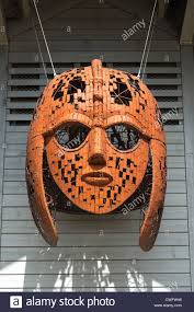 Sutton Hoo Ship burial. Woodbridge, Suffolk, UK. Giant replica helmet Stock  Photo - Alamy